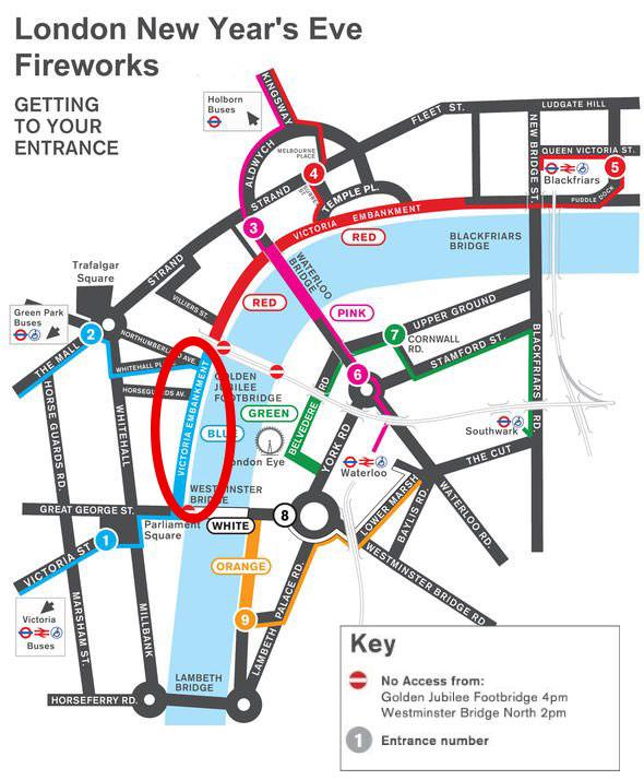 Feu d'artifice Londres Nouvel An Zones
