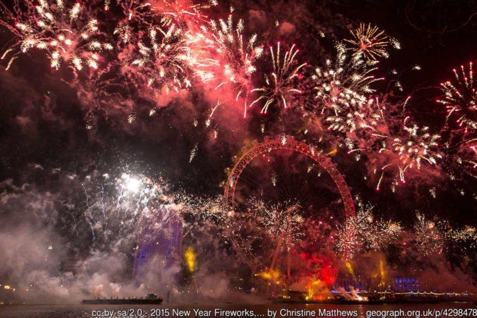 Feu d'artifice du Nouvel An à Londres