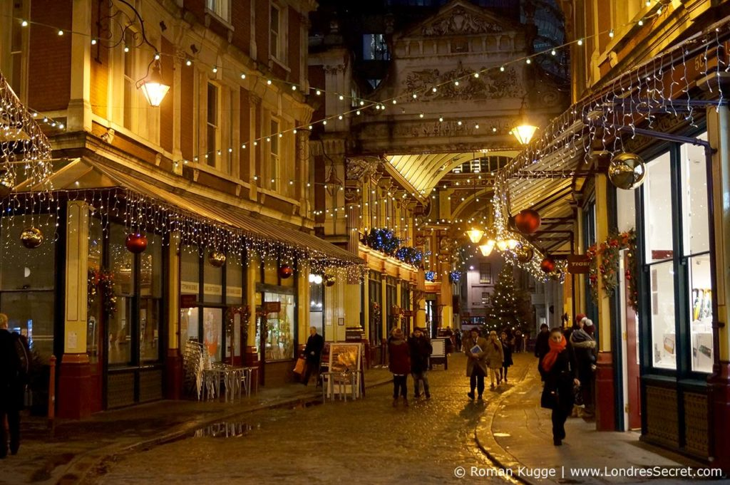 Illuminations de Noël au Leadenhall Market à Londres