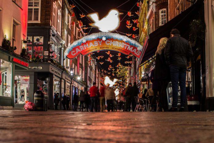 Londres illuminations de Noël de la Carnaby Street