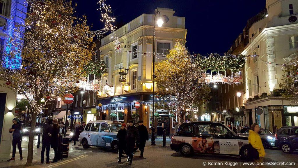 Illuminations des Seven Dials à Londres à Noël