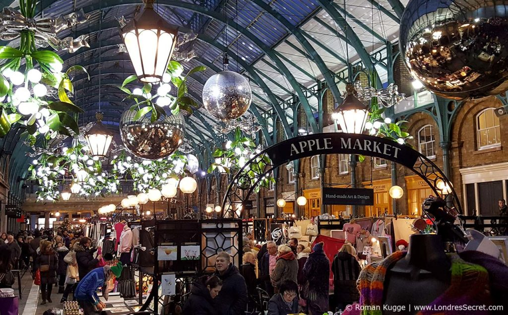Covent Garden Noël illuminations au Apple Market